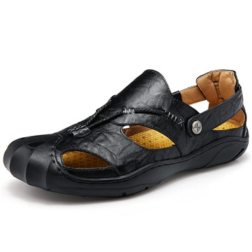 New Fashion Summer Beach Breathable Men Sandals Genuine Leather Men's Sandal Man Causal Shoes black us8(25.0cm)
