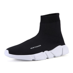 2017 New Arrival Men Socks Shoes High-TOP Ankle Knitted Summer Men  Casual Breathable Couple shoes black us5.5(22.5cm)