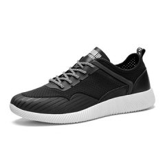 Fashion and Comfortable Men Causal sport Shoes Summer Mesh Cottom Light Man Shoes Breathable Lace up black us7.5(24.5cm)