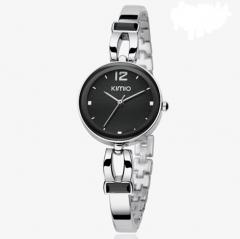 Stylish Black Dial Ladies' Bracelet Watch - Silver
