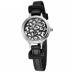 Slim Design Genuine Leather Watch - Black