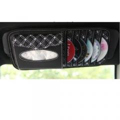Car Sun Visor Glass Pen CD DVD Disk Card Case with Tissue Box Fit for Glasses/Pen/CD Card/ID