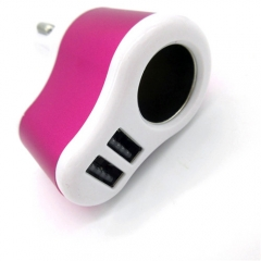 Universal 3.1A Dual USB Port Car Cigaretter Charger Adapter Dark Red for iPod all Mobile Phones