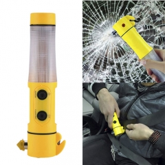 4-in-1 Multi-function Flashlight Knife Cutter Led Warning Light Car Safety Magnet Emmergency Hammer