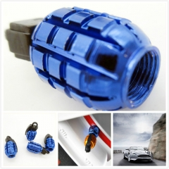 Universal 4 x Grenade Bomb Aluminum Blue Car Tire Valve Stem Cap Dust Cover for Car Truck Bike