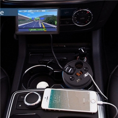 Car Charger Cup Holder Dual Cigarette Lighter Sockets Power Adapter with Dual USB Ports LED Black