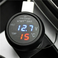 Multifunction Car USB Charger Thermometer Voltage Meter Monitor Cigarette Lighter  USB Charger