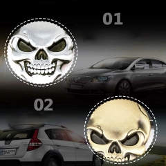 Popular 3D 3M Skull Metal Skeleton Crossbones Devil Skull Head Emblem Sticker