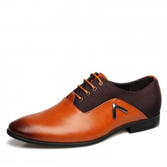 Pointed Shoes  Business Men's Basic Casual Shoes Genuine Leather Cloth Elegant Design Flat 8668 Brown 38