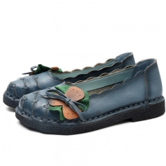 Genuine Leather Shoes Moccasins Women Flats Handmade Flower Soft Outsole Vintage Style blue 35