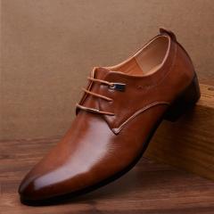 Men pu Leather Shoes  Men's Flats Formal Shoes Classic Business Dress Shoes brown 44