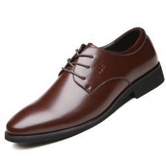 Men Genuine COW  Leather Shoes Men's Flats Formal Shoes Classic Business  Shoes brown 44