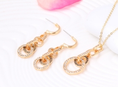 2016 Women Trendy Rhinestone Circle Necklace Plus Earrings Fashion Jewelry 2 in 1 Set As Picture As Pictures
