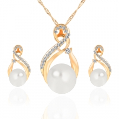 2016 Hot Sale Pearl Necklace Plus Rhinestone Earrings Women Fashion Jewelry Set Golden As Pictures