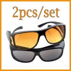 2PCS GLASSES OPTIC HD NIGHT DAY VISION DRIVING WRAP AROUND ANTI GLARE SUN PRk black one model