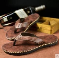 Fashion Men's Summer Slipper Sandals Casual Sneakers beach flip-flops shoes TG88 Dark Brow 40 41  42 43 44