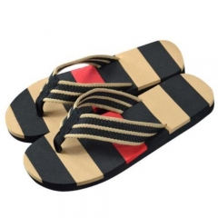 Men Summer Stripe Sport Casual Flip Flops Slippers Beach Slippers Sandals Shoes black 40 41  42 43 44