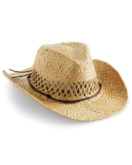 Beechfield STRAW COWBOY HAT RETRO WESTERN WEST FANCY DRESS PARTY COSTUME MEN NEW straw one size