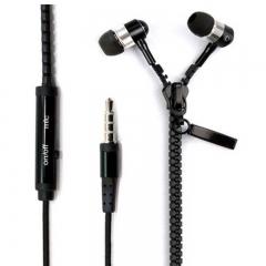 Universal Stereo 3.5mm in-Ear Earphone Earbuds Headphone with Mic Zipper Headset black