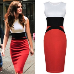 Free Shipping Stitching Business Office Lady Evening Dress Big Yards Hit Bandage Dress red M