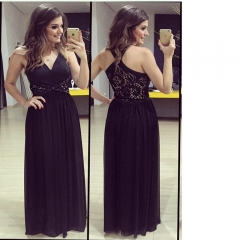 Sexy Style Deep V Lace Stitching High Split Connect Long Dress black S
