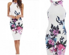 Summer ancient  printing national  tight condole belt sleeveless package buttocks dress flower S