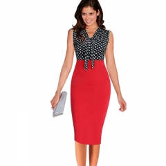 New Sleeveless V-Neck Print Banded Fashion Buttock Pencil Skirt red S