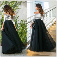 Autumn and winter new striped dress striped dress evening dress black S