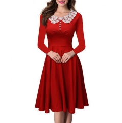 2016 Fall Women's Lace Hepburn wind waist large skirt European station dress red S