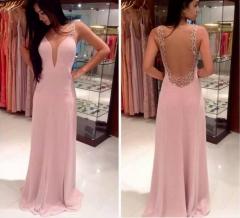 2016 new female fashion prom dress chiffon pink evening dress skirt pink S