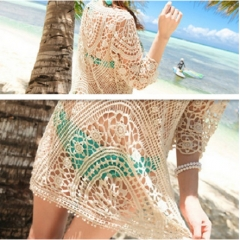 New Crochet lace summer beach sunscreen blouse beige free  size