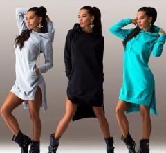 Fashion irregular hooded long-sleeved dress sweater black S