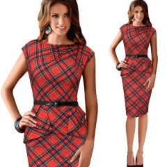 The new large size plaid pencil skirt belt red XL