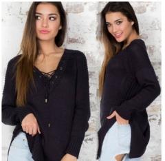 2017 new long-sleeved strap loose loose sweater shirt shirt black S