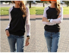 2017 lace long sleeves splicing loose round neck ladies sweater black S