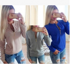 2017 long sleeve round neck fashion zipper shirt sweater coat pink S