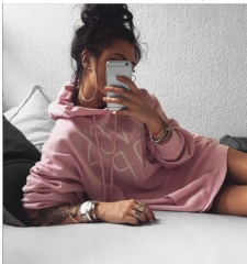 2017 new long-sleeved print hat sweater pink S
