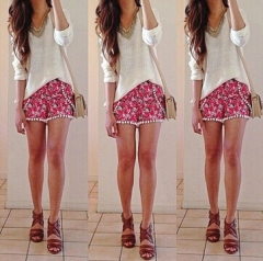 2017 new summer wild floral shorts red S