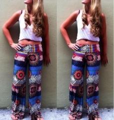 2017 summer new printing Slim casual pants printing S