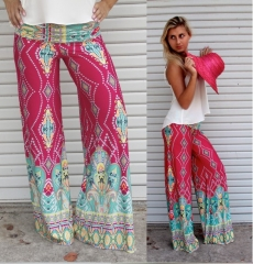 2017 new women printed trousers straight pants printing S