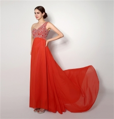 Sexy red long shoulder dress l cocktail party small trailer evening dress red us 2