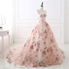 Simple fashion print long dress pompry skirt sexy bra long dress dress evening dress pink us 2