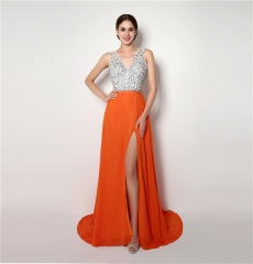 Sexy high open halter long dress evening party cocktail dress orange us 2