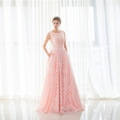 Sexy pink lace long dress dress party evening party dress pink us 2