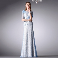2016 new lace dress temperament Slim package hip evening dress was thin sexy long skirt Light blue lace s