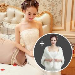 Tube Top Wedding Dress Qi Korean Lace Long Sleeve 2016 new Slim was thin Big shawl + wedding s
