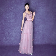 Long tulle evening dress female bridesmaid's feet V-collar sisters skirt pink s