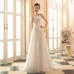 2016 new sequins lace wedding dress white Qi to drag the tail of the bride dress blue long section s