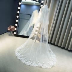 White milky white soft yarn material long retro veil bride wedding dress drag the bulk of the yarn white 3 meter