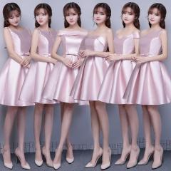 2017 new wedding dress silk long bridesmaid dress pink s